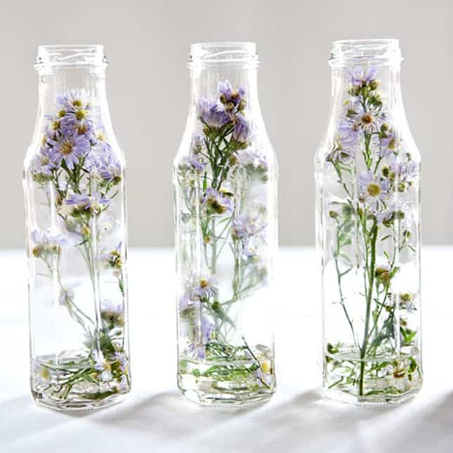 decoracion de botellas con flores