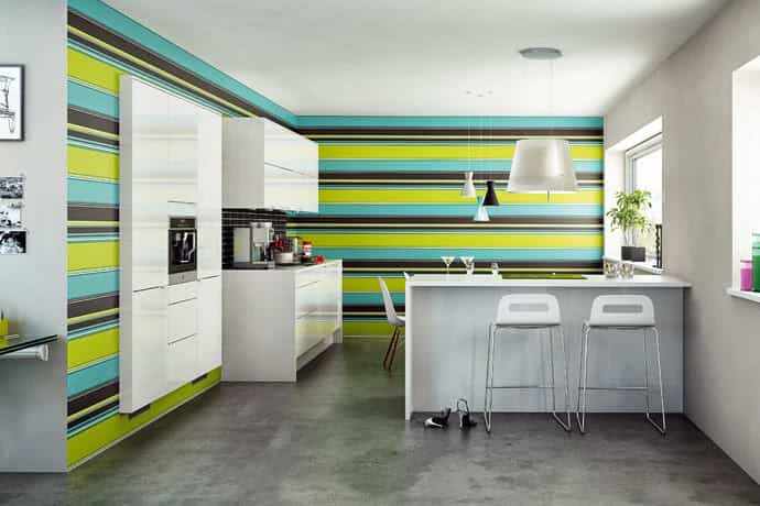 Decorar la pared de una cocina con franjas - Decoración de ...