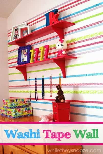 decorar pared con washi tape de colores