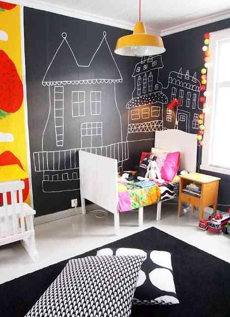 Dormitorio infantil con pared de pizarra decoraci n de - Decoracion interiores infantil ...