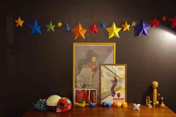 Origami Decoracion Pared ~ Decora la pared con estrellas de origami  Decoraci?n de Interiores