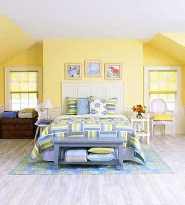 Decorar dormitorios amarillo pastel