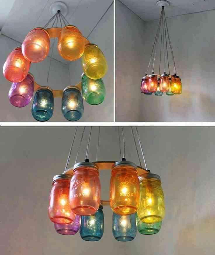 Una lámpara de techo con envases reciclados - Decoración de ...