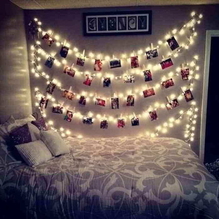 Guirnalda de luces en dormitorio juvenil femenino 1