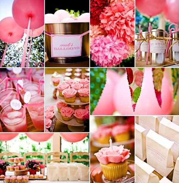 Decoración en rosa para eventos infantiles