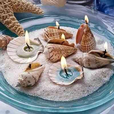 conchas y caracolas convertidas en velas