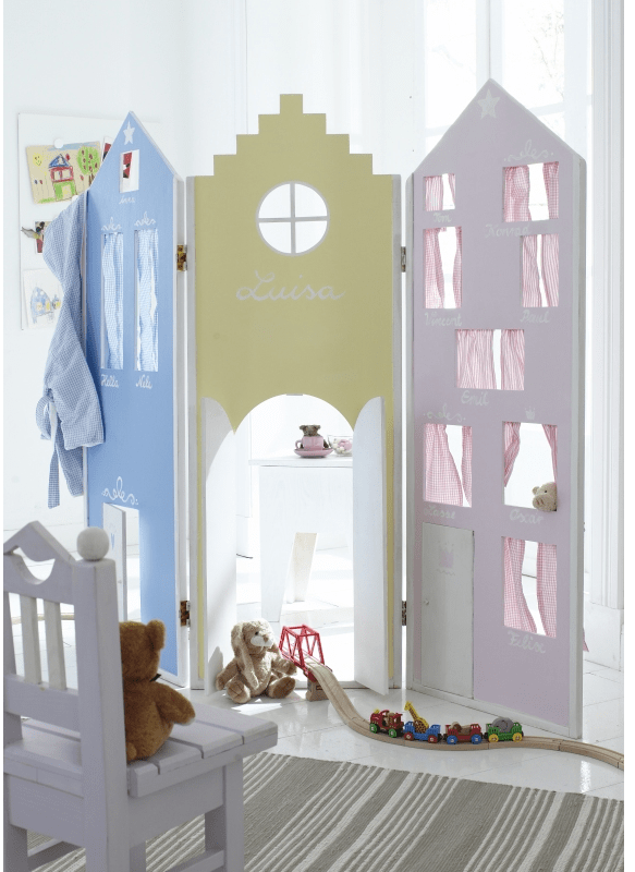 decoracion infantil - biombo de casitas