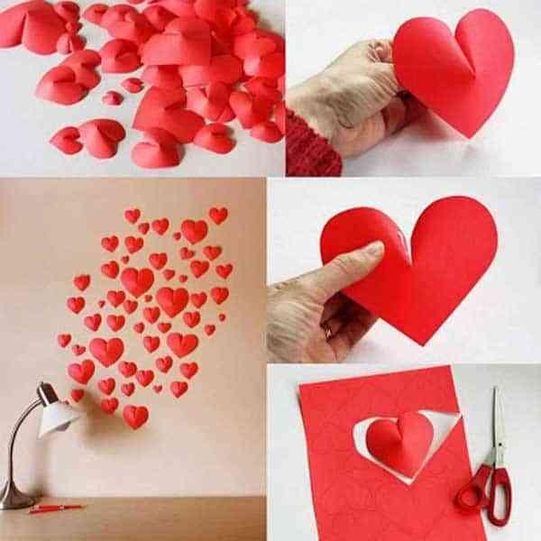 decorar la pared con corazones de cartulina