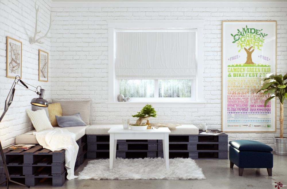 Pequeño salón decorado con palets y ladrillos