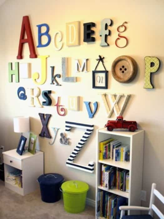 decoracion de pared - habitacion infantil - letras