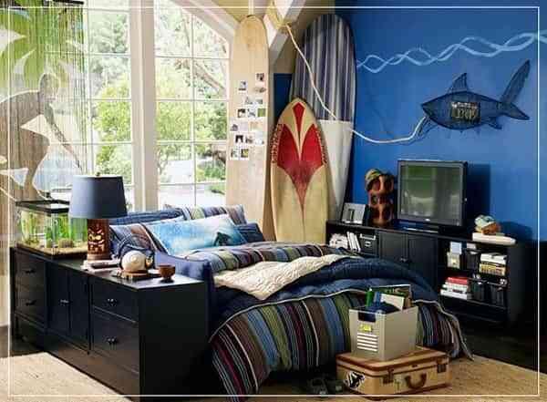 Dormitorio juvenil surfero decoraci n de interiores for Departamentos decorados para hombres