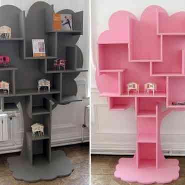 Decoración infantil: Divertida estantería con forma de árbol