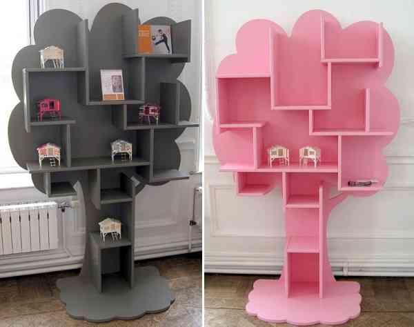 Decoraci n infantil divertida estanter a con forma de rbol - Estanteria pared infantil ...