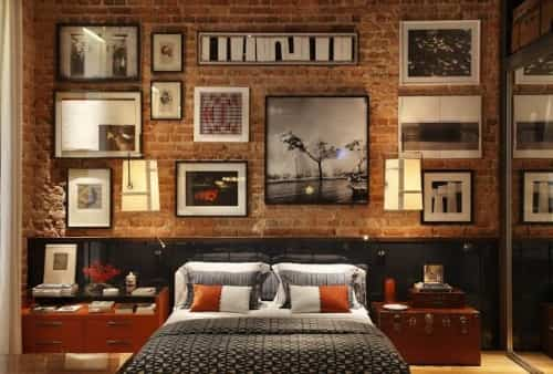 Decoración de dormitorios con paredes de ladrillo