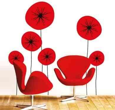 Decorar paredes con vinilos florales