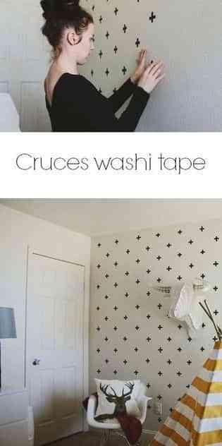 decorar una pared con washi tape