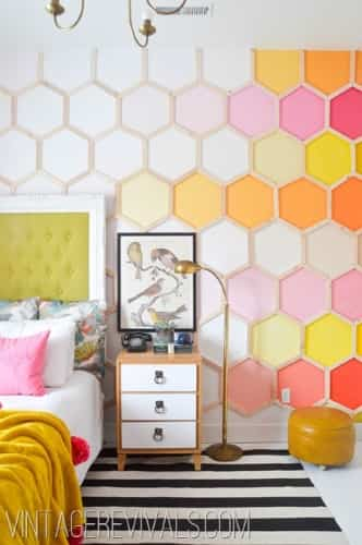 decorar pared con hexagonales