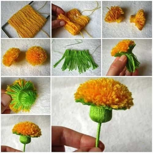 flor de pompón de lana