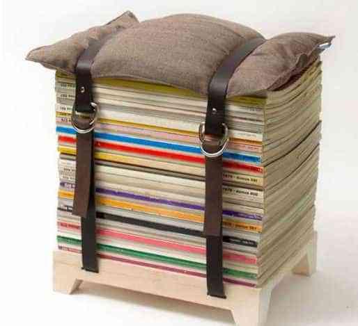 muebles reciclados con cinturones de piel - puf