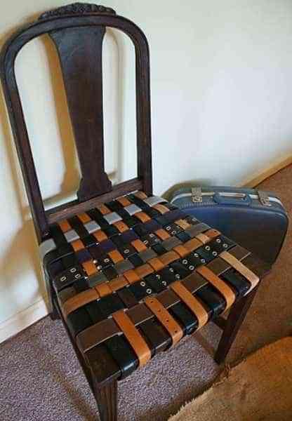 muebles reciclados con cinturones de piel - silla