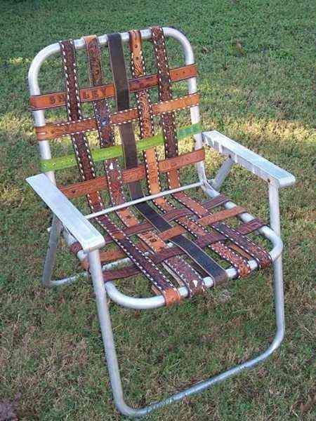muebles reciclados con cinturones de piel - silla 2