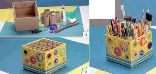 organizador de lápices reciclado