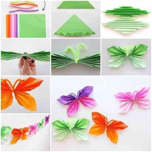 Mariposas de papel y limpiapipas