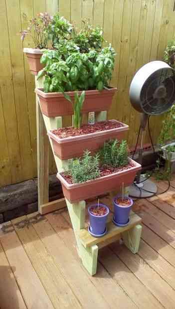 Pautas para confeccionar una escalera de macetas for Que plantas poner en una jardinera
