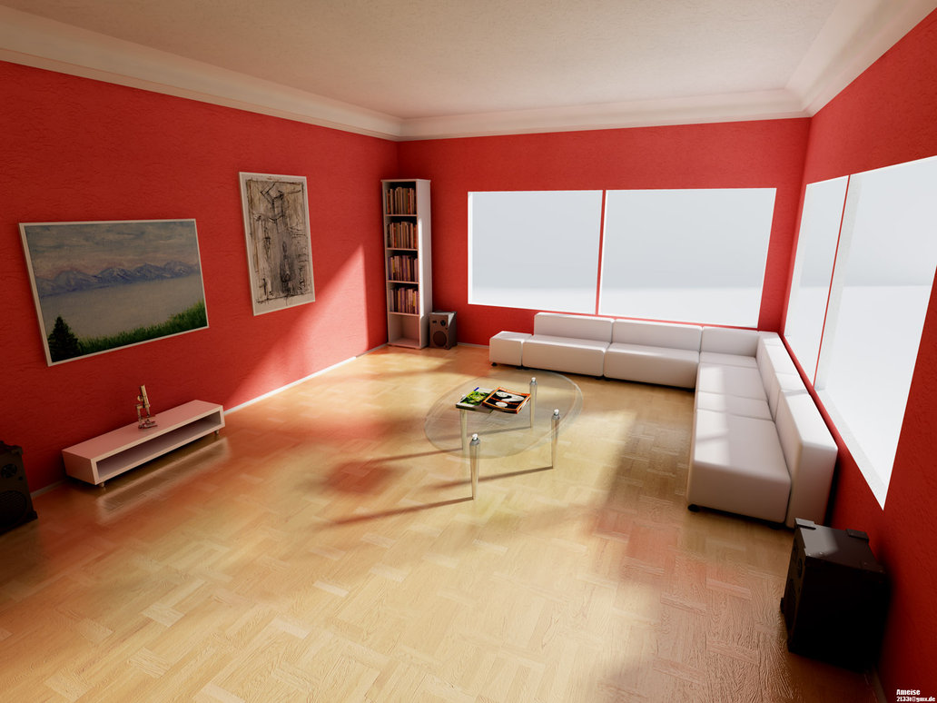 Ideas para decorar con el color rojo tus habitaciones for Pisos pintados modernos