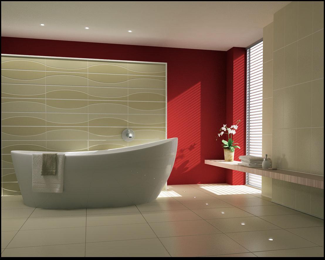 baño de diseño decorado en rojo y blanco