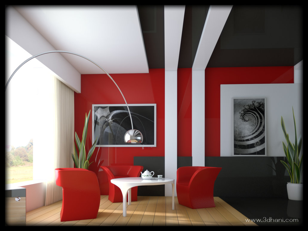 salon decorado en color rojo y gris