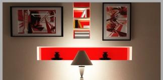 rincon de relax en color rojo y con alfombras grises