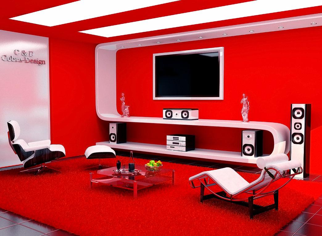 salon en color rojo y con una bonita iluminacion