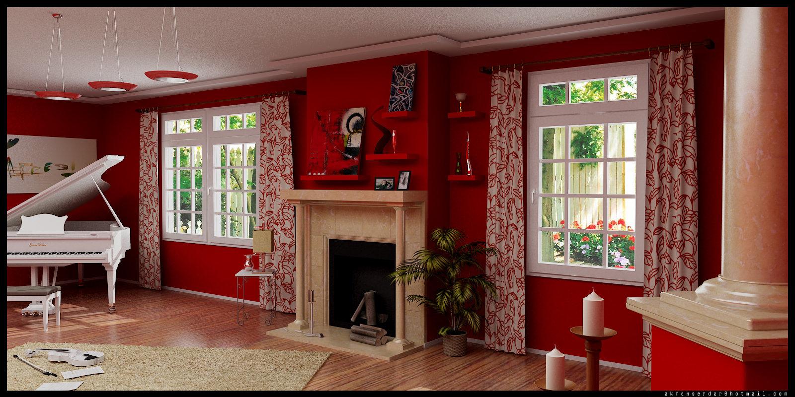 salon con chimenea y piano en color rojo