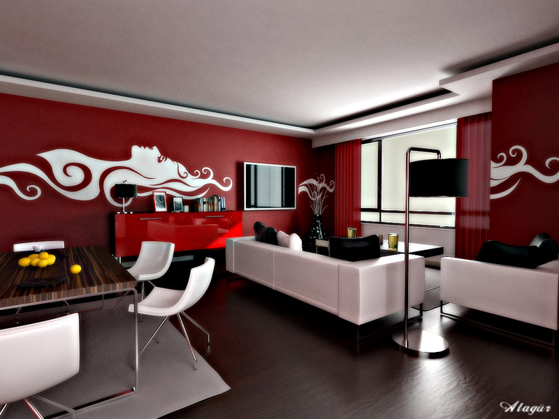 salon con vinilos en color blanco y rojo