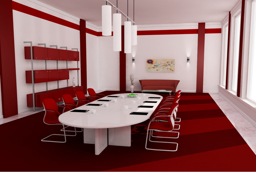 comedor grande en color blanco y rojo