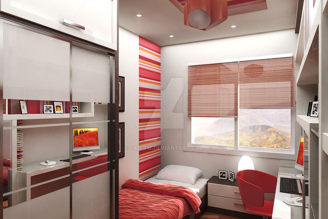 dormitorio decorado en color rojo y blanco