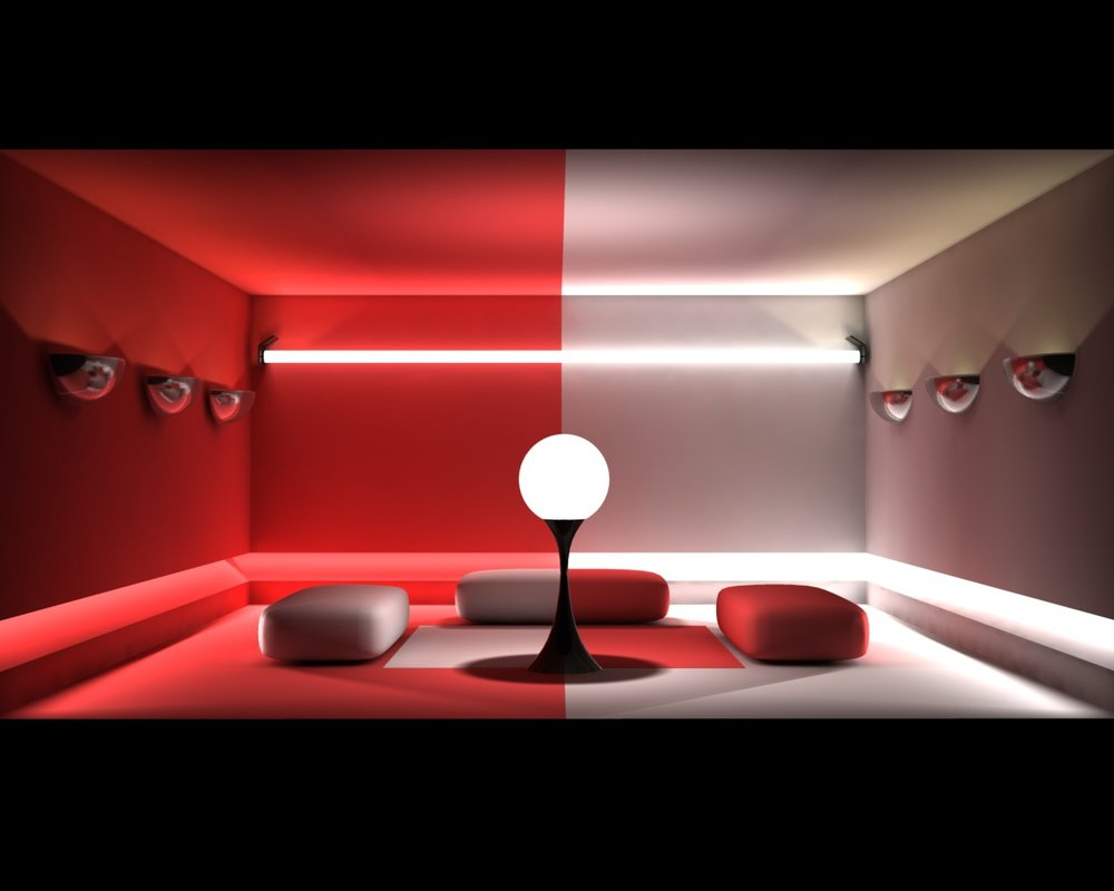 habitación decorada en rojo y blanco con colores alternados