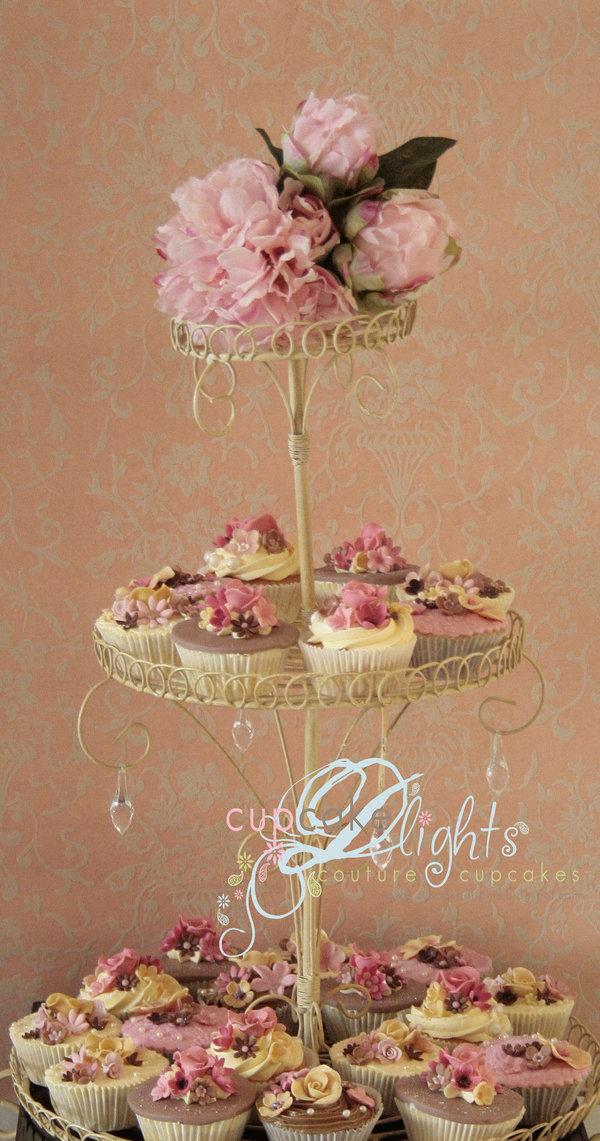 pequeña tarta y cupcakes en forma de jaula