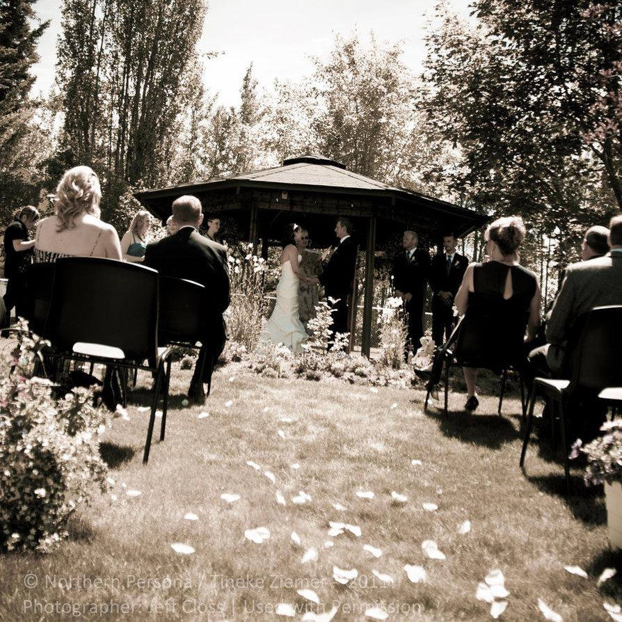 boda con petalos de rosa por el camino