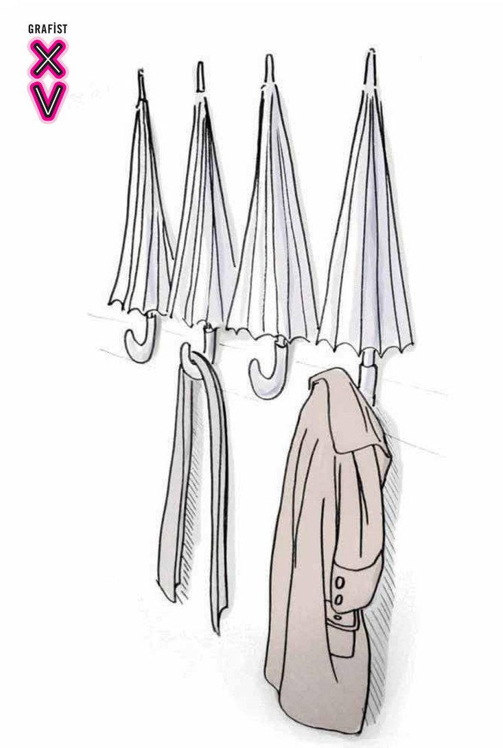 dibujo de un perchero hecho con paraguas