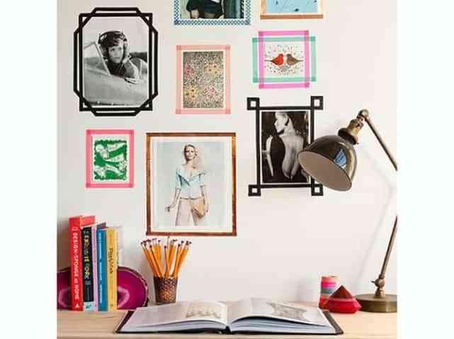 Adornar las paredes con cintas de colores