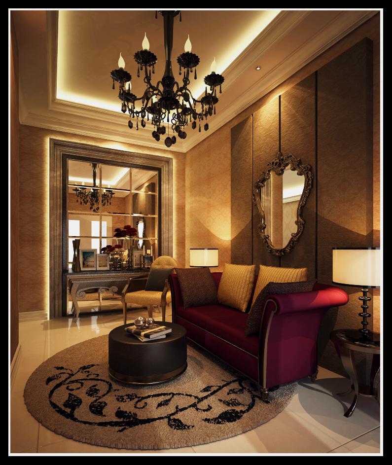 sala de estar con un espejo grande
