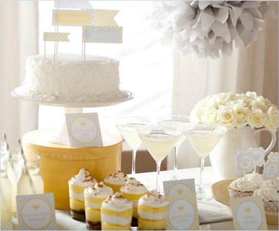 fiesta de color amarillo y blanco