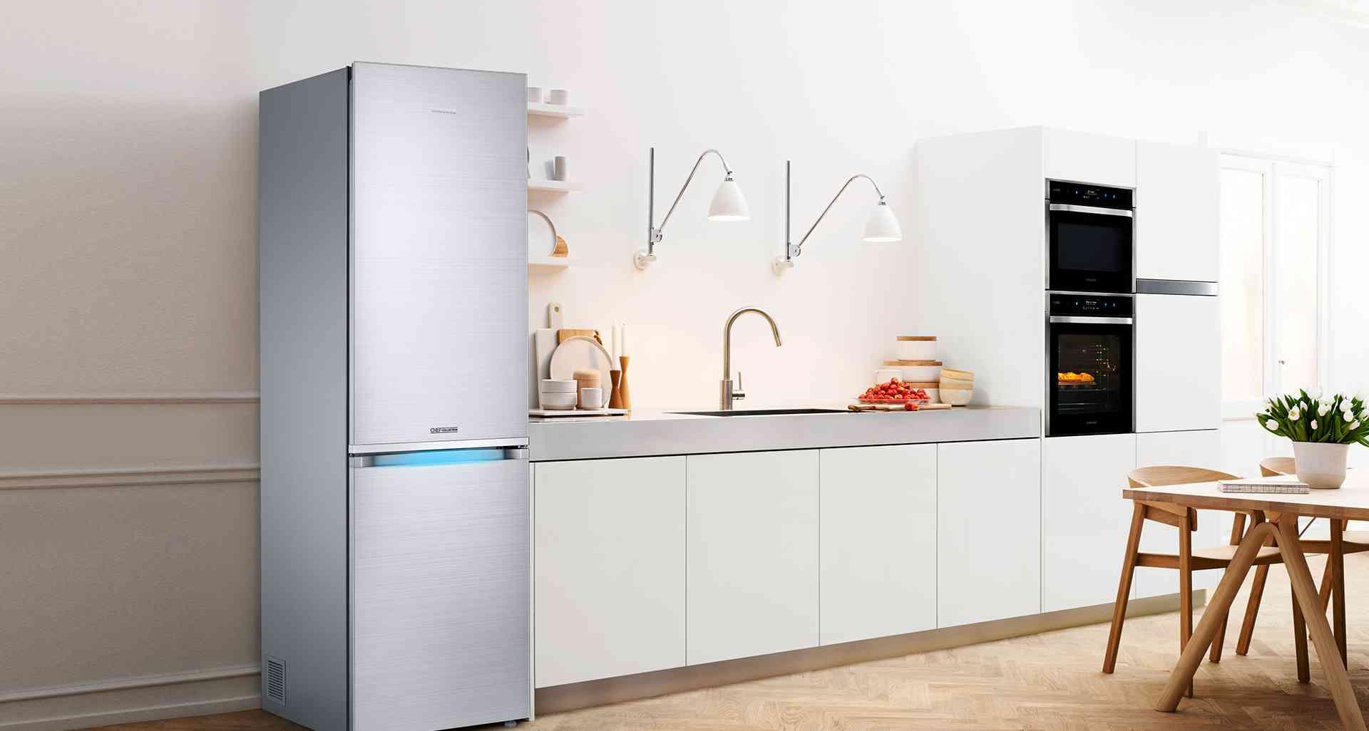 cocina con frigorifico samsung