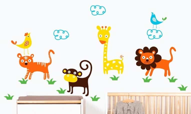 Diferentes vinilos infantiles de animales