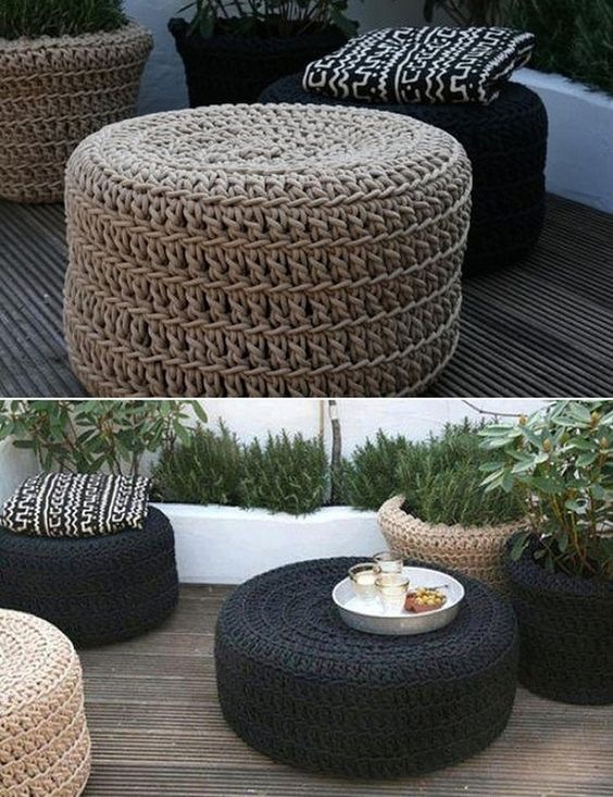 decorar con puffs de crochet VII