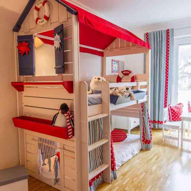 Divertidas habitaciones infantiles con literas - Habitaciones infantiles 2 camas ...
