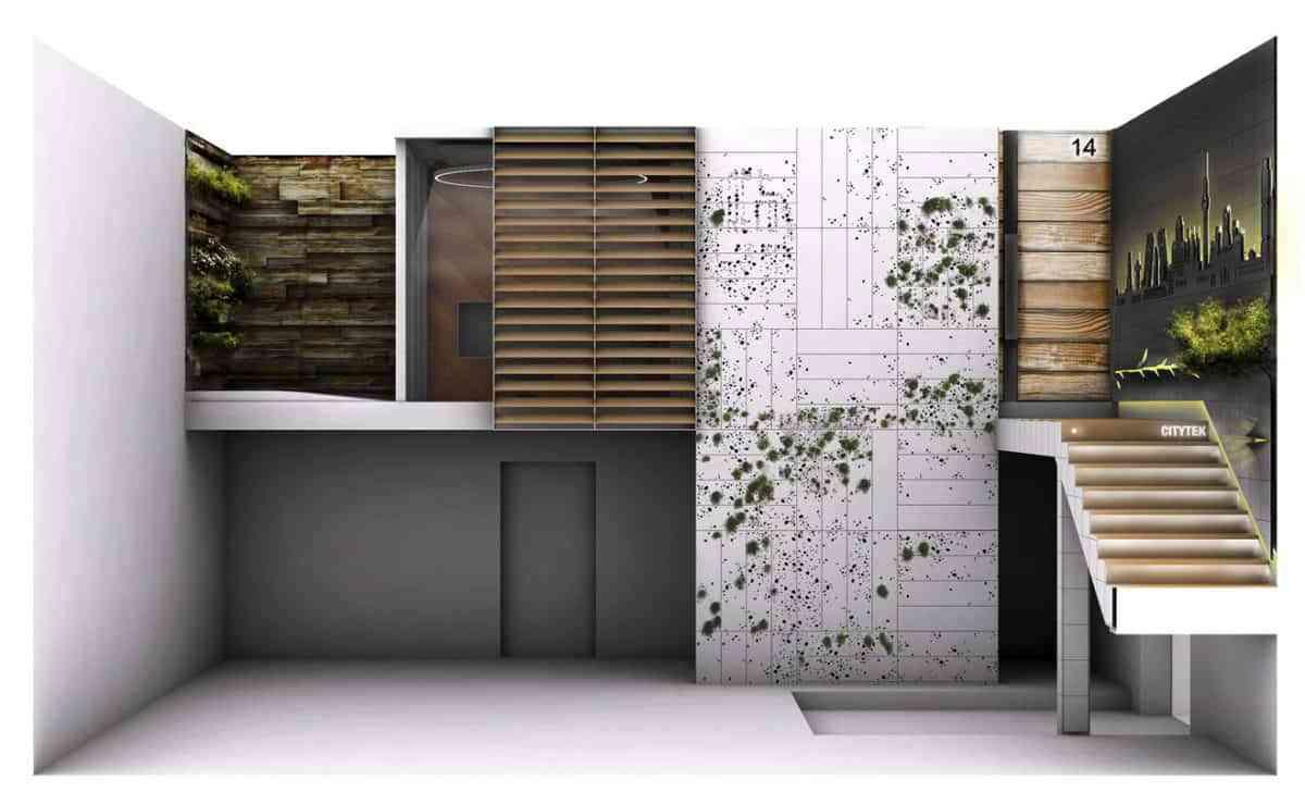Propuesta de decoración ecológica para Showroom Greco Gres