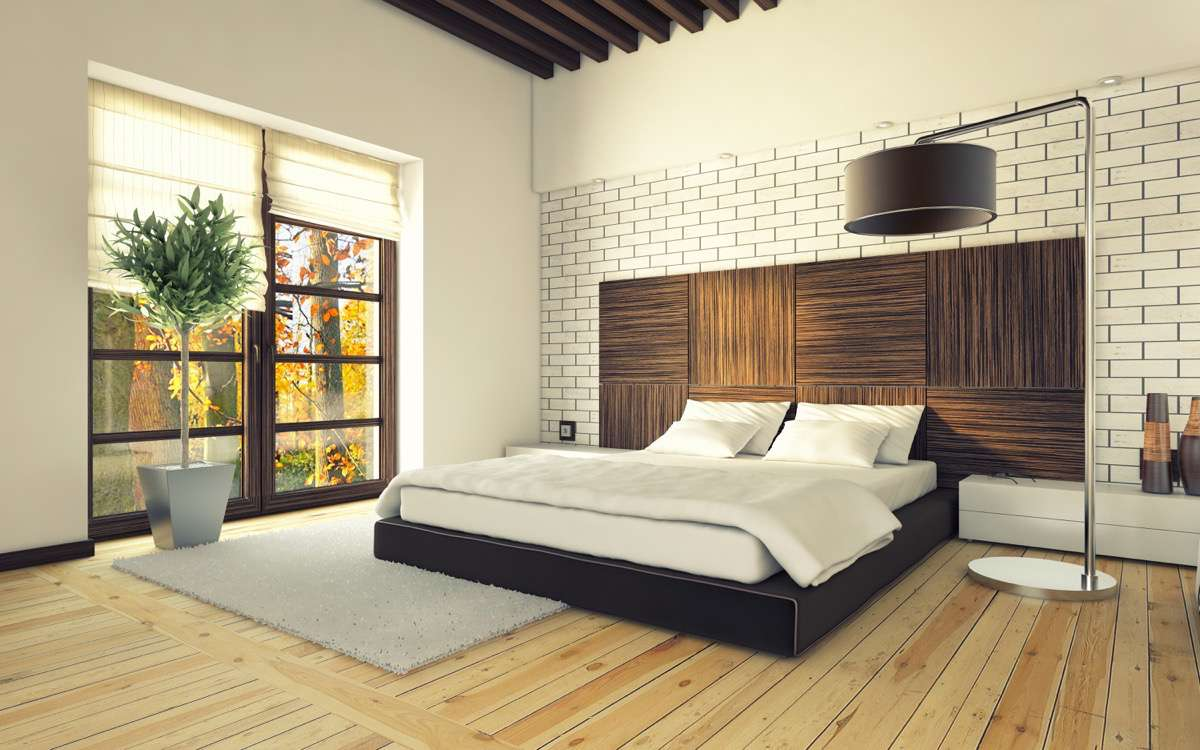 habitación de madera en distintos tonos